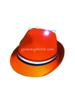 YD Orange Trilby Hat With LED Lights